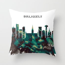 Brussels Skyline Throw Pillow