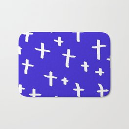 blue white cross Bath Mat