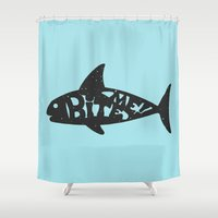 shark Shower Curtains featuring SHARK! by Dylan Morang
