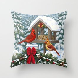 Red Cardinals and Christmas Bird Feeder Throw Pillow