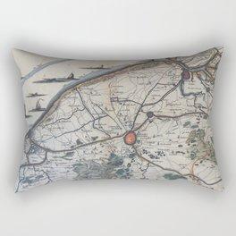 Vintage Map of Bruges Belgium (17th Century) Rectangular Pillow