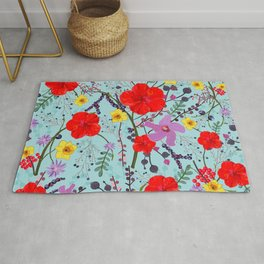 Red hibiscus, daffodil, black berry flower bouquet colorful pattern Rug