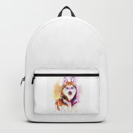 Husky Dog Watercolor Portrait Backpack
