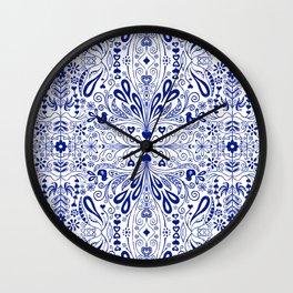 Chinoiserie Folk Seamless Pattern Wall Clock