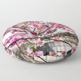 Painting of a Colourful Spring Season under the Fully Bloomed Cherry Blossoms Floor Pillow