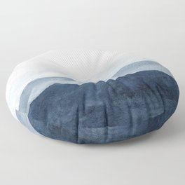 Indigo Abstract Watercolor Mountains Floor Pillow