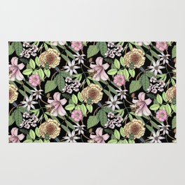 lush floral pattern with bee and beetles I Rug