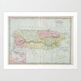 Vintage Map of Puerto Rico (1901) Art Print