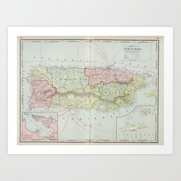 Vintage Map of Puerto Rico (1901) Art Print