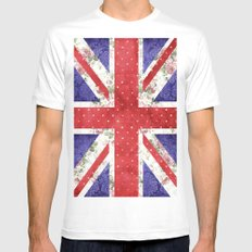 Vintage Red Polka Dots Floral UK Union Jack Flag and Blue Damask Mens Fitted Tee MEDIUM White