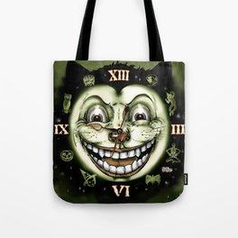 Black Cat 13 Halloween Clock Tote Bag