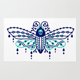 Death's Head Hawkmoth – Navy & Turquoise Palette Rug