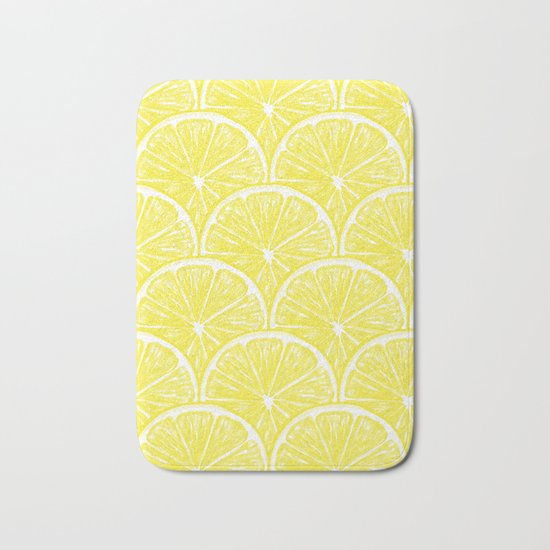 Lemon slices pattern design II Bath Mat