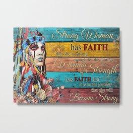 Native American Poster Native American Female Girl Strong Woman Metal Print