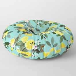 Summer Lemon Floral Floor Pillow