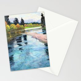 12,000pixel-500dpi - Frits Thaulow - A River - Digital Remastered Edition Stationery Cards