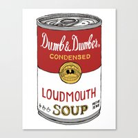 dumb and dumber Canvas Prints featuring Loudmouth Soup - Dumb and Dumber by Panda McFan