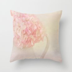 Pink Hydragea Flowers in White Vase Throw Pillow