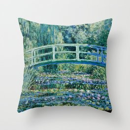 Claude Monet - Water Lilies And Japanese Bridge Throw Pillow