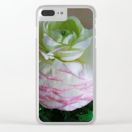 White and Pink Ranunculus Clear iPhone Case