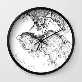Hong Kong Map White Wall Clock