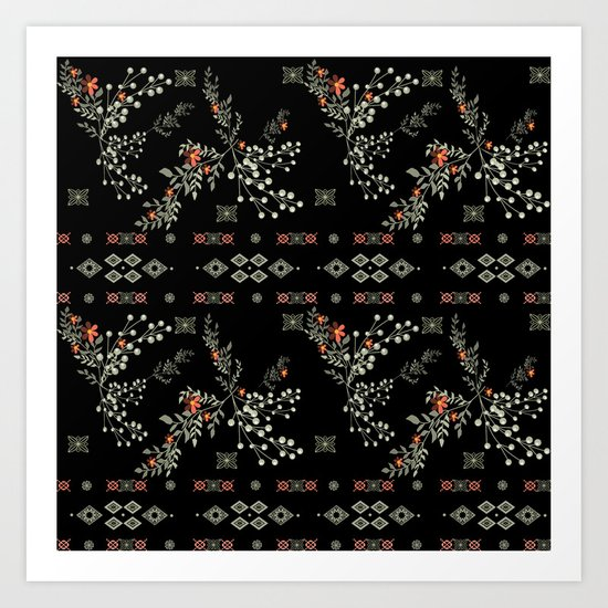 Seamless abstract floral pattern on black background Art Print