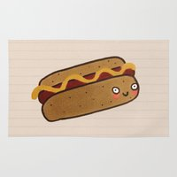hot dog Area & Throw Rugs featuring Hot Dog by Tuesday Alissia