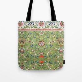 Asian Floral Pattern in Jade Green Antique Illustration Tote Bag