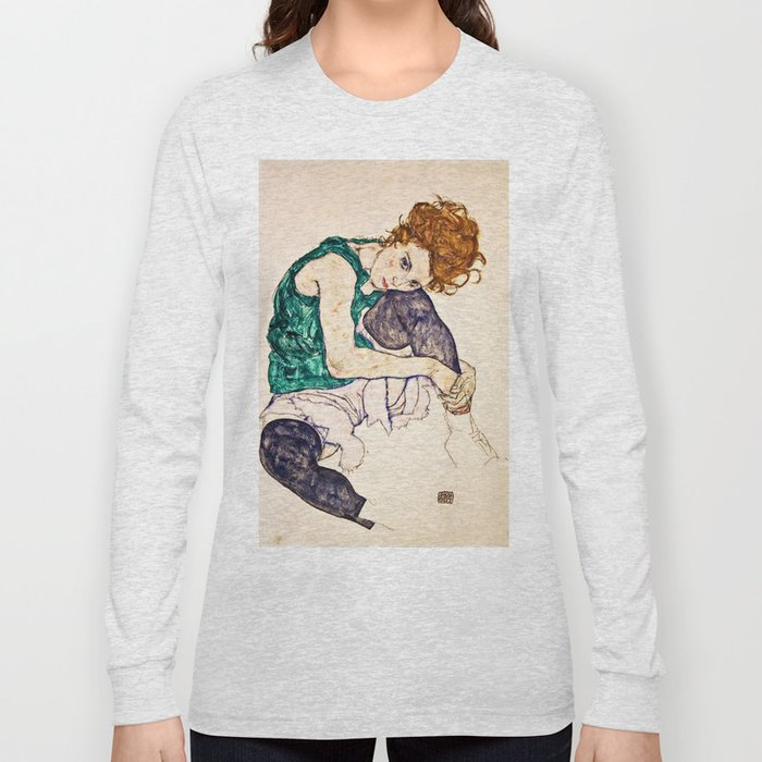 Egon Schiele - Seated Woman With Legs Drawn Up Long Sleeve T-shirt