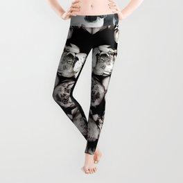 Black & White Floral Pattern Leggings