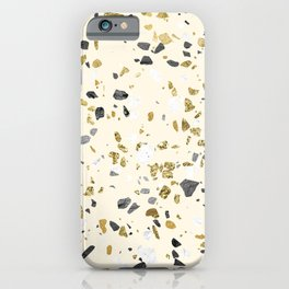 Glitter and Grit Yellow Gold Marble iPhone Case