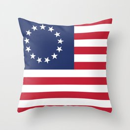 Betsy Ross flag of the USA - Authentic HQ version Throw Pillow