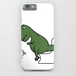 TRex dinosaur arms toilet funny gift iPhone Case