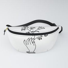 Victorian Hand Holding Wildflower Bouquet Design Fanny Pack