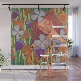 Woman with Butterflies Wall Mural