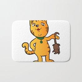cartoon cat with mouse Bath Mat