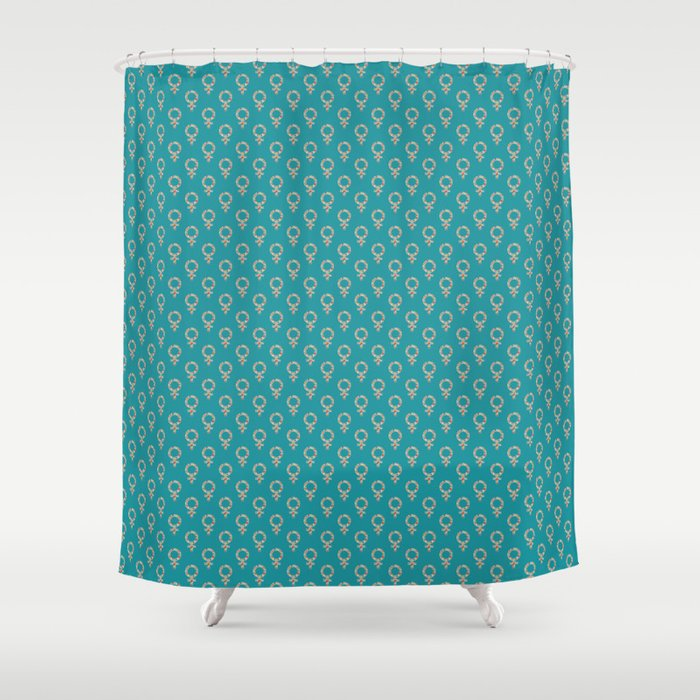 Fearless Female Teal Shower Curtain