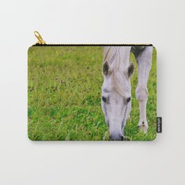 White horse on green meadow Carry-All Pouch