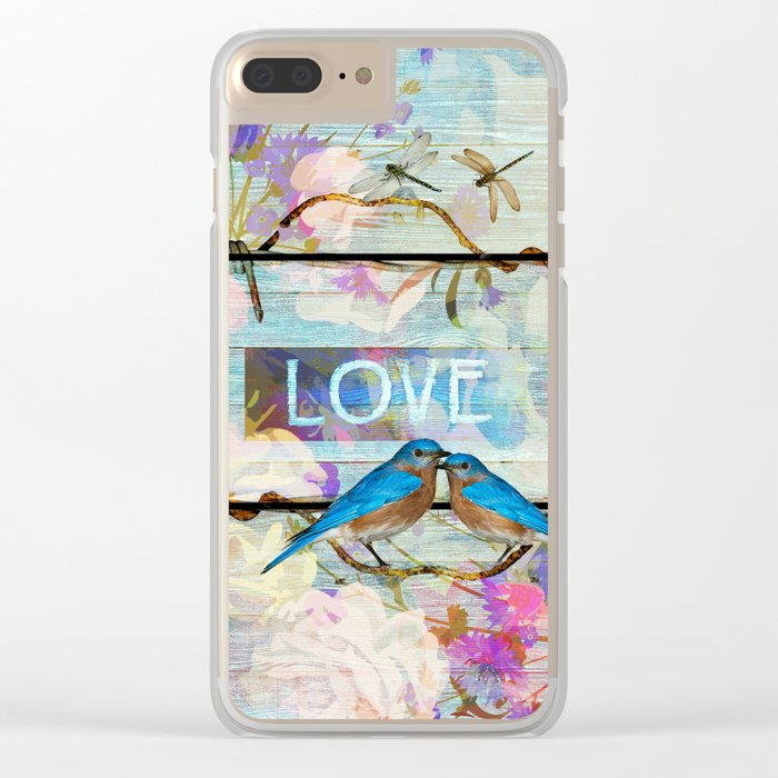 Love Birds on wood Clear iPhone Case