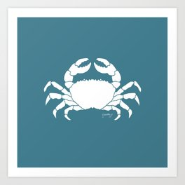 Crab Teal Background Art Print