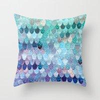Throw Pillows featuring SUMMER MERMAID II by Monika Strigel