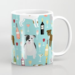 Pitbull wine champagne dog breed pet portrait pet friendly gifts for dog lovers Coffee Mug