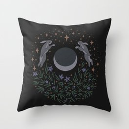 Hares and the Moon Throw Pillow