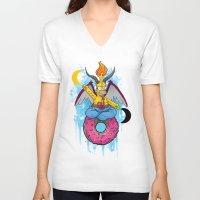 baphomet V-neck T-shirts featuring Homer The Baphomet by Conversa entre Adeptus