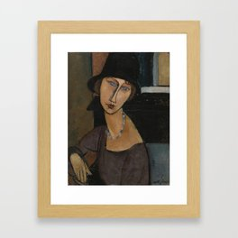 Modigliani - Jeanne Hebuterne With Hat And Necklace Framed Art Print