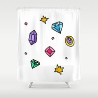 gem Shower Curtains featuring Gem by Madi Moon