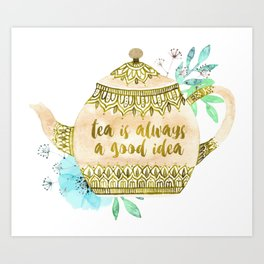 Watercolor Teapot Flowers Art Print