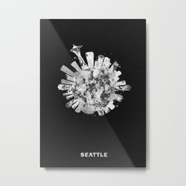 Seattle, Washington Black and White Skyround / Skyline Watercolor Painting (Inverted Version) Metal Print