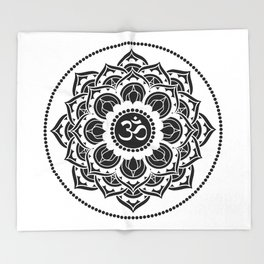 Black and White Mandala   Flower Mandhala Throw Blanket