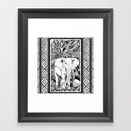 White Elephant Indian Ink Tribal Art Framed Art Print